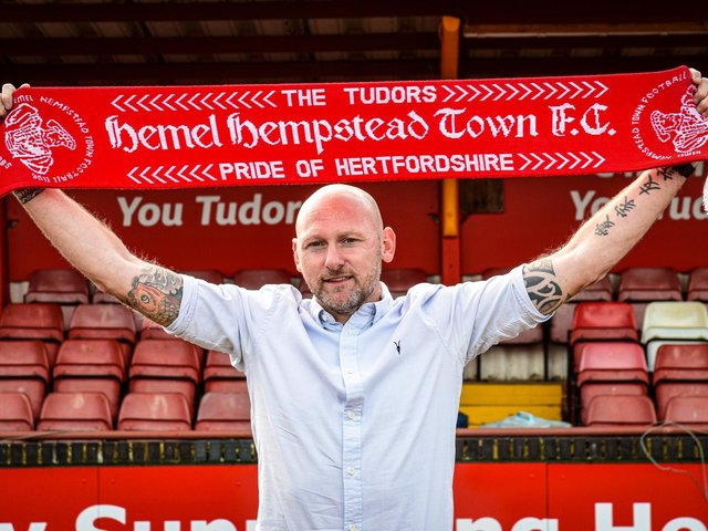 Lee Bircham shows of his new colours after being appointed as the new manager of Hemel Hempstead Town