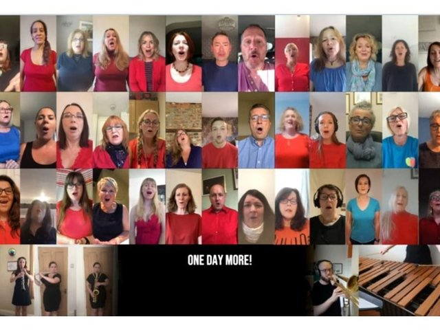 Screenshot from the video of the song by ExcludedUK Virtual Choir