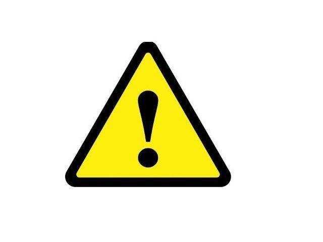 A yellow warning is in place