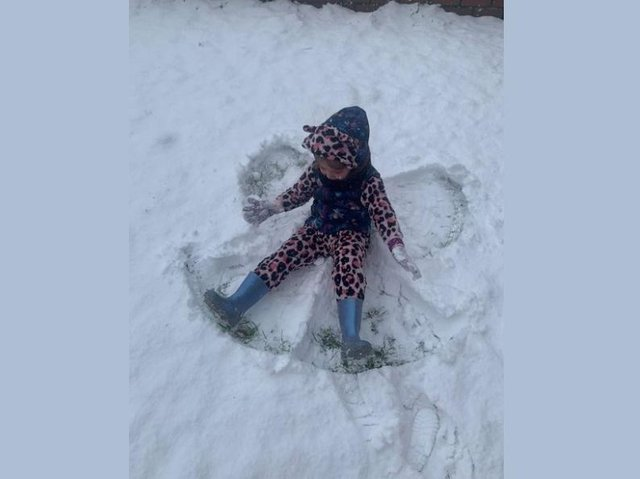 Poppi having fun in the snow in Warners End
