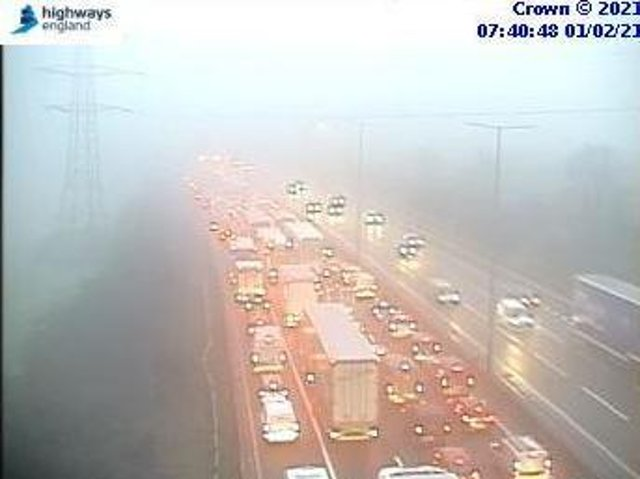 Highways England jam cams showed queues for 71⁄2 miles on the M1 on Monday morning