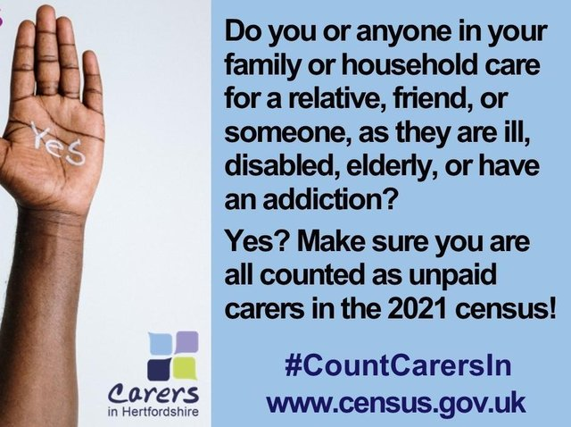 Carers in Hertfordshire urges carers to get their caring role counted in Census 2021