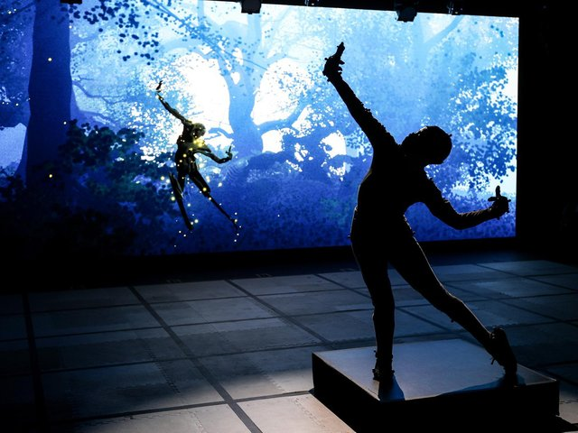 EM Williams in the studio and the virtual world as Puck. Photo by Stuart Martin (c) RSC