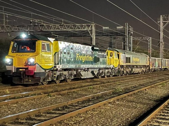 Two locos hauled the massive 'jumbo train' through Dacorum during the early hours of Thursday morning