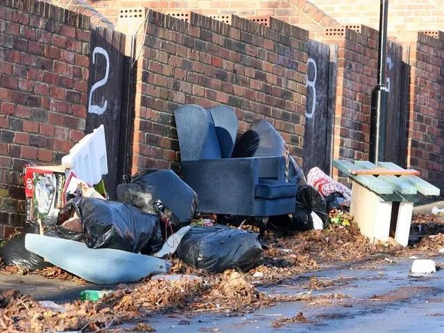 Fly tipping stock image