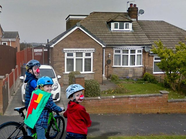 The boys mocked up 'outside' their Grandad's house