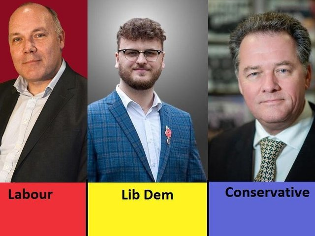 Philip Ross (Labour), Sam North (Liberal Democrats) and David Lloyd (Conservatives)