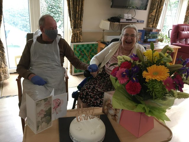 Peter visiting his wife Ann on her birthday at Bupa Care Home