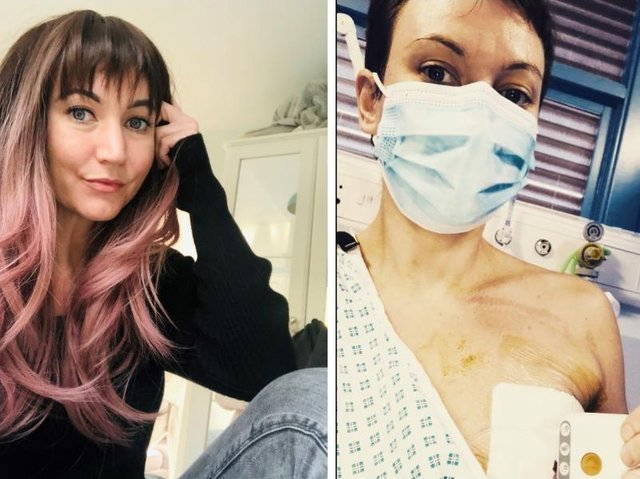 Jenny at home and right, in hospital following her mastectomy operation