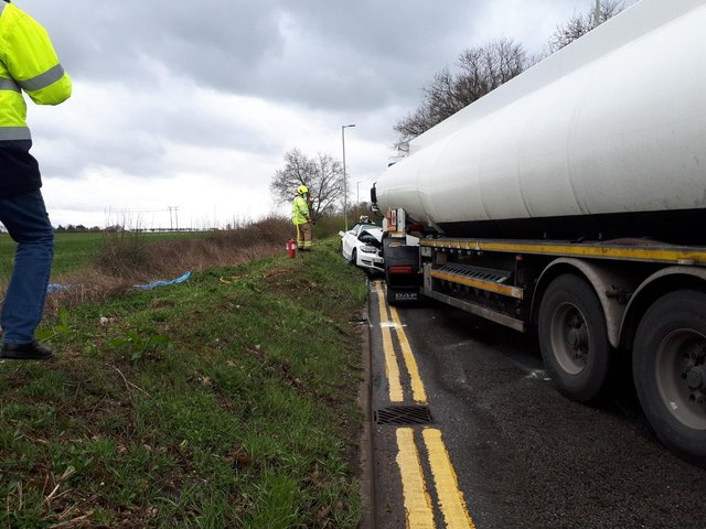 An oil tanker and BMW were involved in the collision