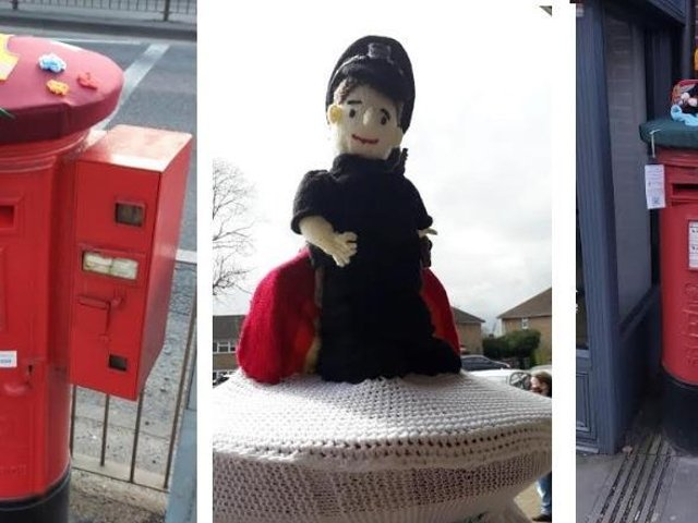 Postbox toppers in Lawn Lane and Old Town