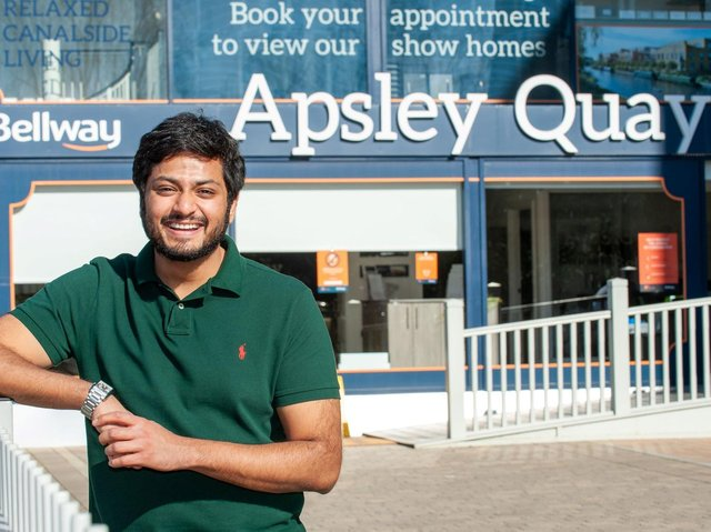 Vishal Patel outside Bellway's Apsley Quay development in Hemel Hempstead
