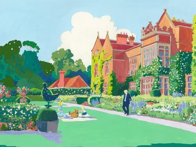'Chequers Court' – the painting bought by Boris Johnson showing the Prime Minister and his young family last spring in the gardens of his official country home