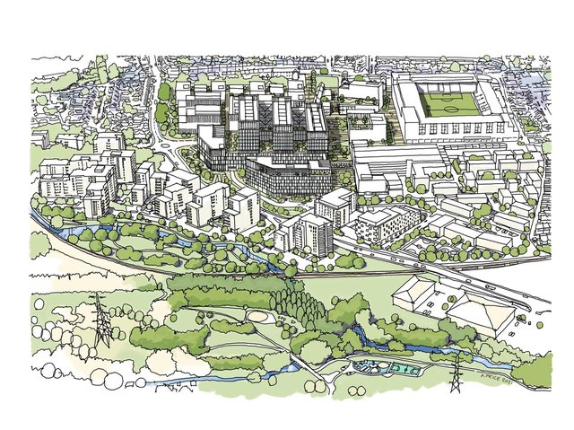 The Illustrative Masterplan will be submitted as part of the Outline Planning Application for information only. The illustration shows the wards organised into three finger blocks above a podium offering views to the Colne Valley.