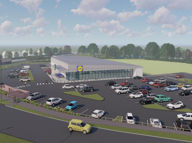 Scheme image of the entrance of the store in the Design and access statement document submitted to the council