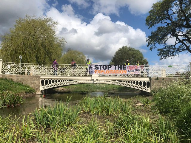 The banner was on display in Gadebridge Park this afternoon (Wednesday)