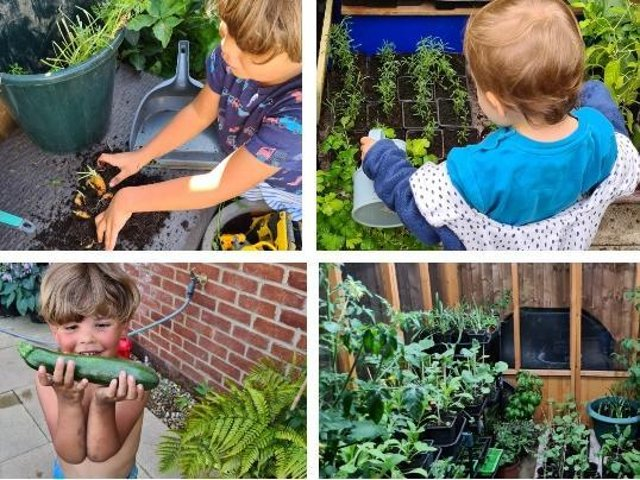 Four-year-old Douglas and two-year-old Hartley have been growing plants and vegetables to raise money for ZSL Whipsnade Zoo