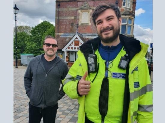 A Police Community Support Officer bumped into Ricky Gervais while out in patrol in Dacorum