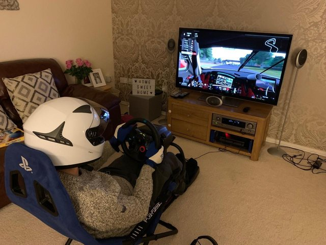 Matt taking part in the racing tournament