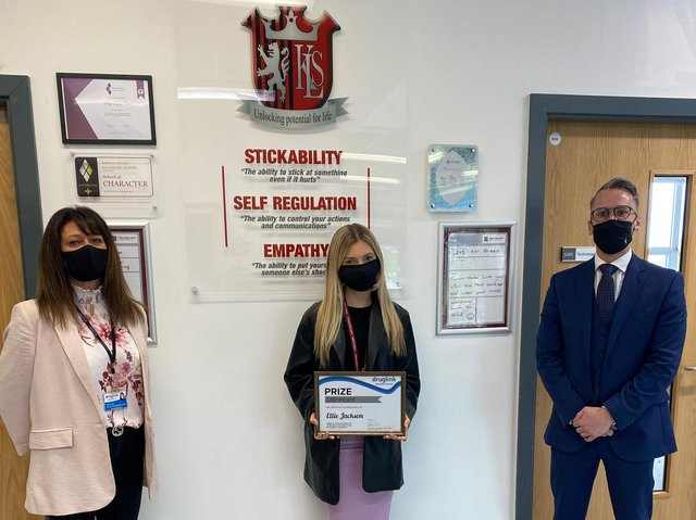 Tara Lock - training and diversions team leader at Druglink, Ellie Jackson – winner, James Tubb - learning area leader for arts, head of art/photography at Kings Langley Secondary