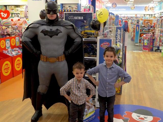 Klaes and Ruiss met Batman at The Entertainer store in Hemel Hempstead