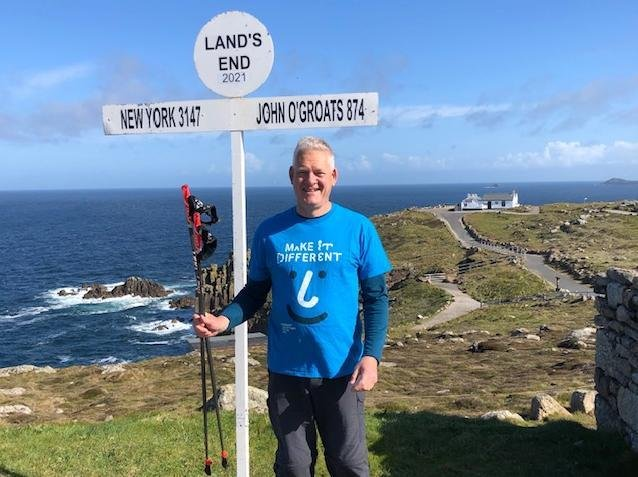 Nick is walking from Land's End to John O'Groats to support three charities