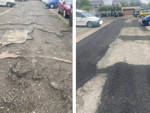 The road before and after the remedial works were carried out