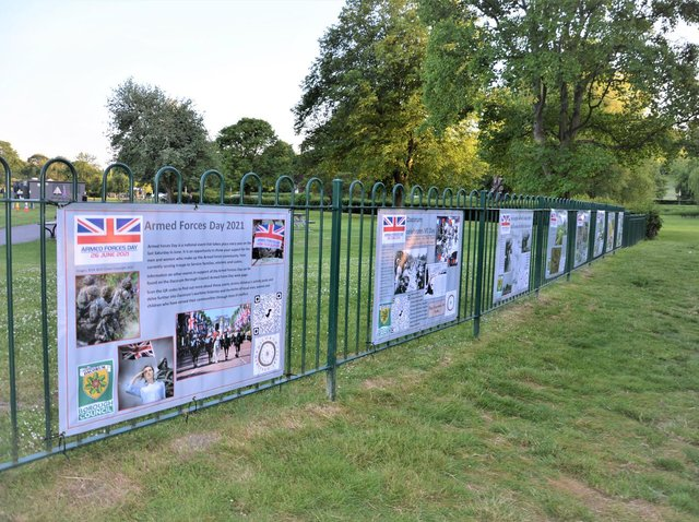 Dacorum Heritage Trust in partnership with Dacorum Borough Council, have installed a series of banners on the railings of the splash park in Gadebridge Park