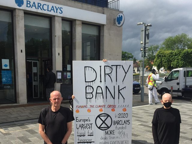Martin and Sue outside Barclays in Hemel