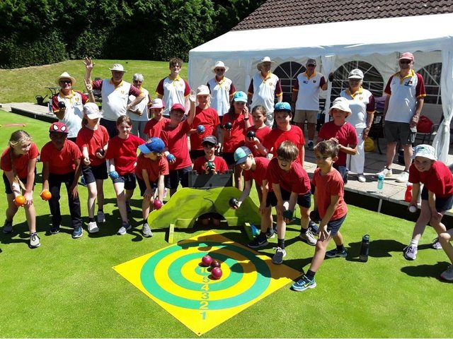 Youngsters from St Thomas More School were given a taster session in bowls by volunteers at Berkhamsted Bowls Club