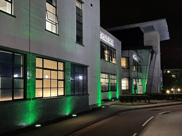 Hatfield Police Station lit up green