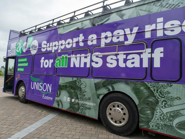 A NHS pay bus is touring the East of England