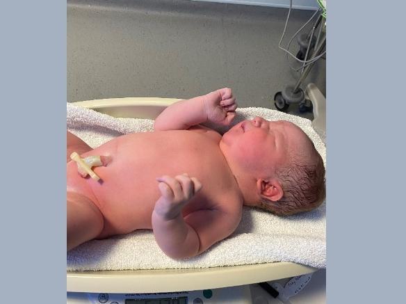 Mason was born at Watford General Hospital weighing 11lb 5oz