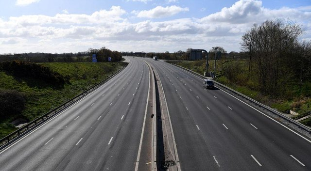 The empty M6 motorway from junction 18, near Middlewich, north west England, as life in Britain continues during the nationwide lockdown to combat the novel coronavirus pandemic (Photo: PAUL ELLIS/AFP via Getty Images)